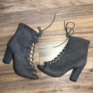 Grey Lace Up Booties